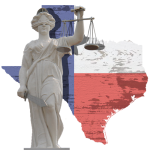 Scales of justice and TX graphic